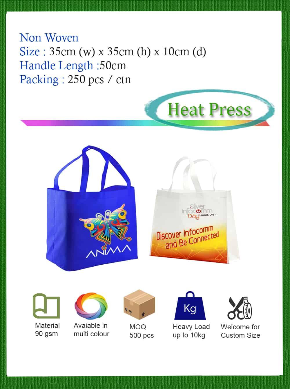 heat press non woven bag