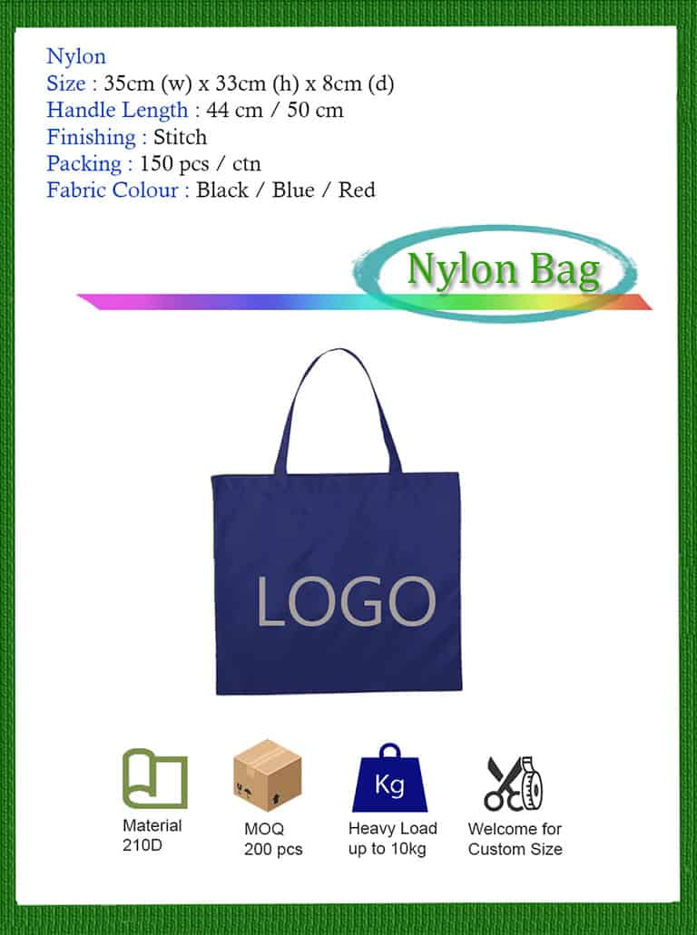 low moq nylon bag printing